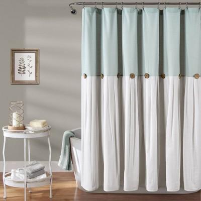 linen button shower curtain blue lush decor