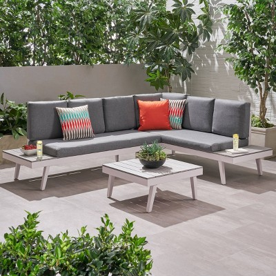 3pc irma aluminum patio sofa sectional white christopher knight home
