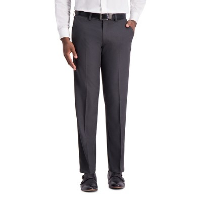 Haggar H26 Men's Big & Tall Straight Fit 4 Way Stretch Trousers - Heather Gray