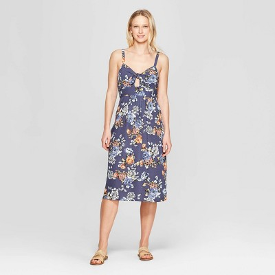 Women's Floral Print Sleeveless V-Neck Smocked Waist Maxi Dress - Xhilaration™ Navy