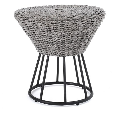 crete round wicker side table gray christopher knight home