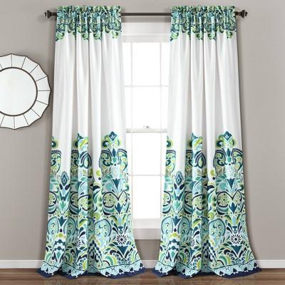 set of 2 84 x52 clara room darkening window curtain panels blue green lush decor