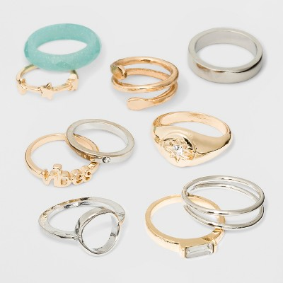 Mixed Star, Stone and Vibes Ring Set 10pc - Wild Fable™