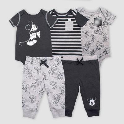 Baby Girls' Disney Mickey Mouse 5pc Bodysuit and Lounge Pants Set - Gray/Black