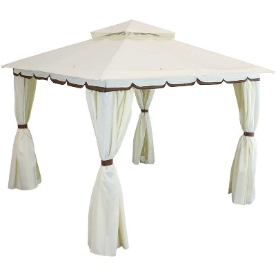 sunnydaze outdoor rectangle soft top patio gazebo with screens and privacy walls 10 x 10 cream