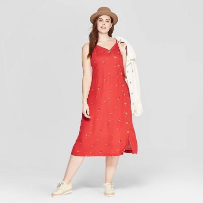 Women's Plus Size Floral Print Sleeveless V-Neck Dress - Universal Thread™ Red