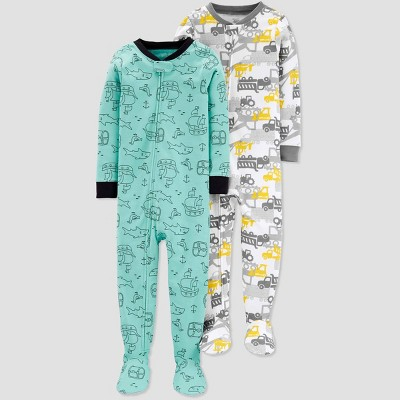 Toddler Boys' Construction Pirate Footed Sleepers - Just One You® made by carter's Green/Yellow