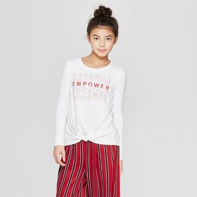 Girls' Twist Front Long Sleeve T-Shirt - art class™ White