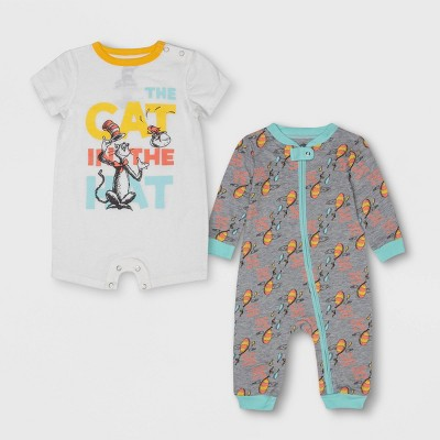 Baby Dr. Seuss 2pc Long Sleeve and Short Sleeve Bodysuit Set - Gray/White