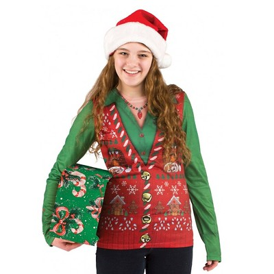 Women's Costume Ugly Christmas Sweater Vest, Long Sleeve Tee
