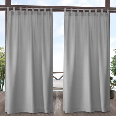 Indoor/Outdoor Solid Cabana Tab Top Window Curtain Panel Pair Winter - Exclusive Home