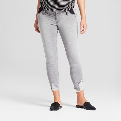 Maternity Inset Panel Distressed Skinny Crop Jeans - Isabel Maternity by Ingrid & Isabel™ Gray Wash