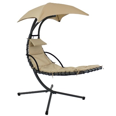 sunnydaze outdoor hanging chaise floating lounge chair with canopy umbrella and stand beige