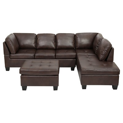 3pc canterbury faux leather sectional sofa set brown christopher knight home