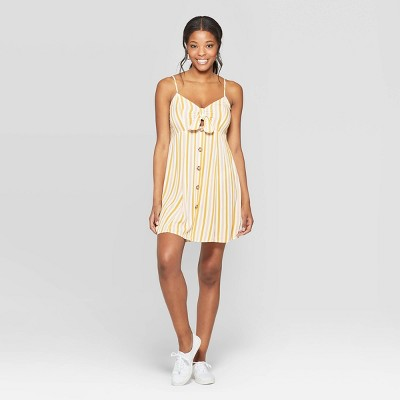 Women's Striped Strappy Tie Front Cutout Dress - Xhilaration™ Ivory/Mustard