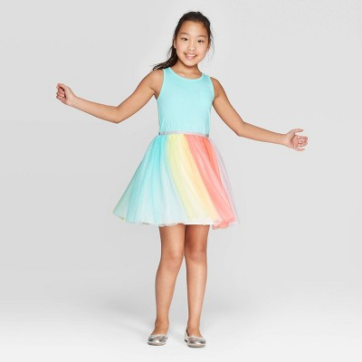 Girls' Tulle Skirt A Line Dress - Cat & Jack™ Aqua