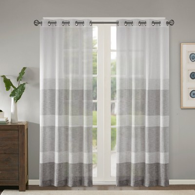 "Woven Faux Linen Striped Sheer Window Panel Gray<br>50""x84"" - Jacey"