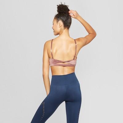 also women   velour twist back sports bra joylab target rh