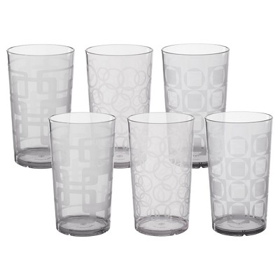 CreativeWare 24oz Acrylic Etched Tumblers - Set of 6