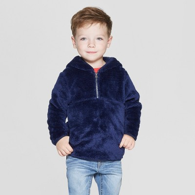 Toddler Boys' Teddy Bear Fleece Hoodie - Cat & Jack™ Navy