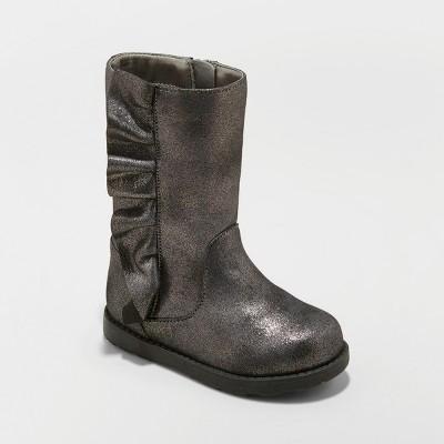 Toddler Girls' Reva Ruffle Boots with Metallic - Cat & Jack™ Pewter