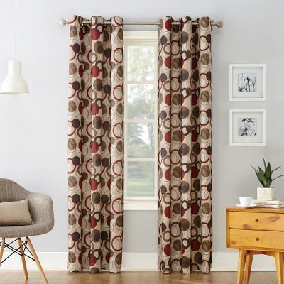 63 x48 jupiter celestial print grommet curtain panel brown red no 918