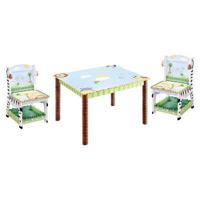 3 piece table and chair set scoop back upholstered dining chairs fantasy fields sunny safari wood teamson target