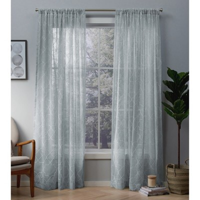 Cali Embroidered Sheer Window Curtain Panel Pair with Rod Pocket - Exclusive Home