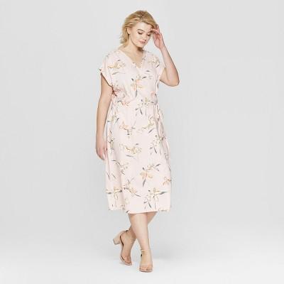 Women's Plus Size Floral Print Short Sleeve Wrap Maxi Dress - Ava & Viv™ Pink