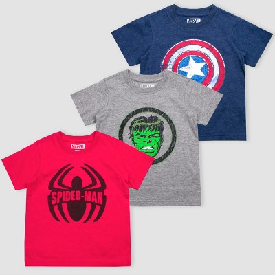 Toddler Boys' Disney Marvel Avengers 3pk Short Sleeve T-Shirts - Red/Blue/Gray