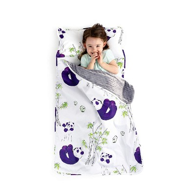 jumpoff jo toddler nap mat children s sleeping bag with removable pillow for preschool daycare and sleepovers 43 x 21 inches playful pandas