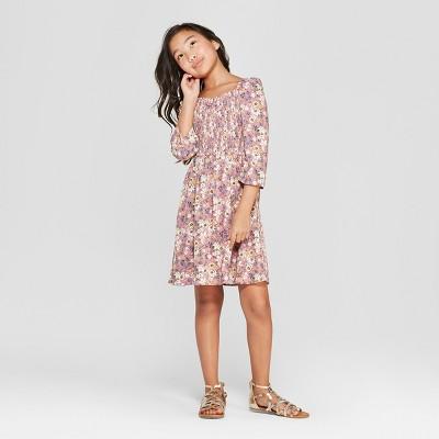Girls' Smocked Sweatheart Woven Dress -  art class™ Pink