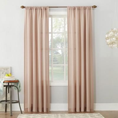 84 x54 linen blend textured sheer rod pocket window curtain panels blush no 918