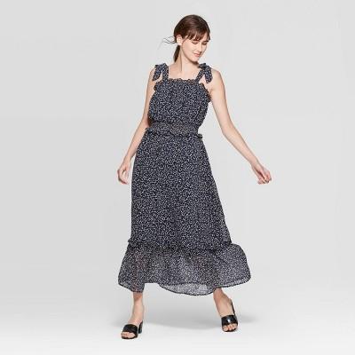 Women's Sleeveless Square Neck Shoulder Tie Column Maxi Dress - Who What Wear™