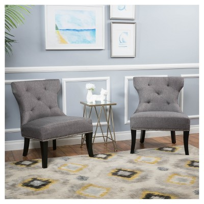 accent chair gray dining room chairs with arms and casters amber studded fabric set of 2 christopher knight home target