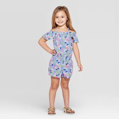 Toddler Girls' Floral Printed Romper - Cat & Jack™ Blue