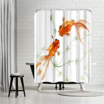 americanflat feng shui goldfish koi 2 by suren nersisyan 71 x 74 shower curtain
