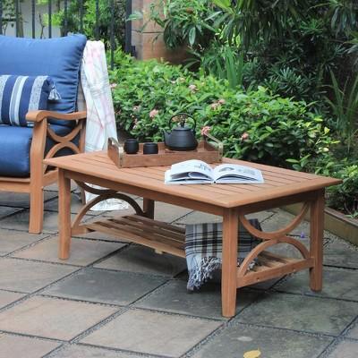 chester teak patio coffee table light brown cambridge casual