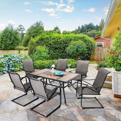 7pc patio dining set with rectangular table with umbrella hole c spring motion chairs captiva designs