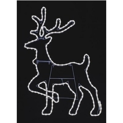 """Roman 37.75"""" Pure White LED Neon Flex Rope Light Reindeer Silhouette Outdoor Decoration"""