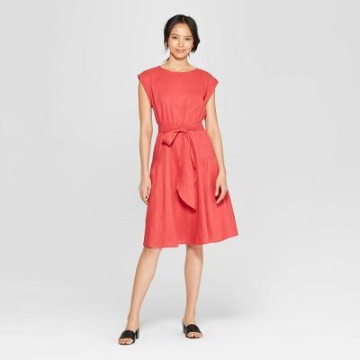 Women's Short Sleeve Crewneck Tie Waist Dress - Who What Wear™