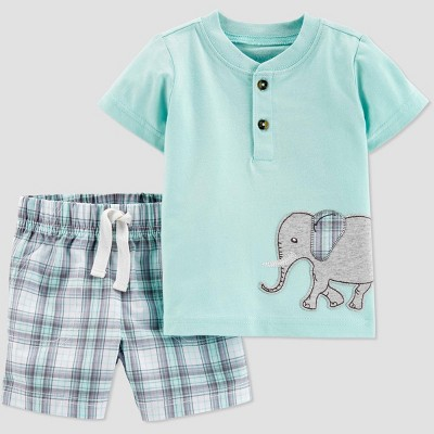 Baby Boys' 2pc Plaid Elephant Shorts Set - Just One You® made by carter's Green