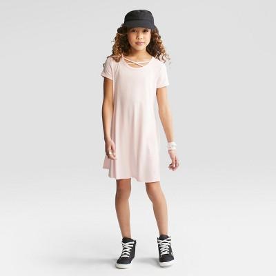 Girls' Short Sleeve Strappy Neck Dress - art class™ Pink Dogwood