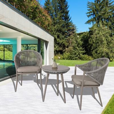 3pc outdoor aluminum bistro set natural nuu garden