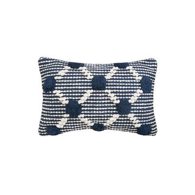 carol frank 14 x 22 josie indigo blue bolster pillow