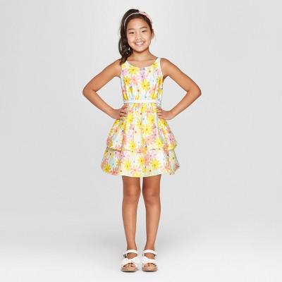 Girls' Floral Print Dressy Dress - Cat & Jack™ Yellow