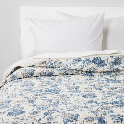 Printed and Washed Voile Quilt Blue Floral - Threshold™