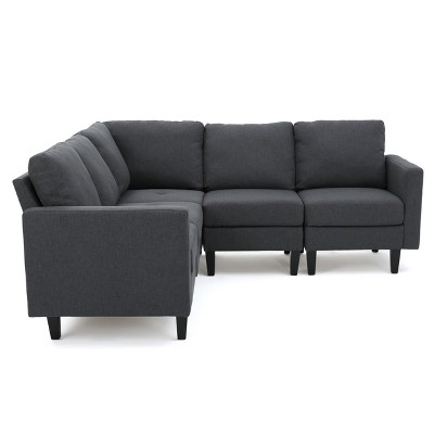 5pc zahra sectional couch dark gray christopher knight home