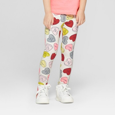 Toddler Girls' 'Hearts' Leggings - Cat & Jack™ Cream