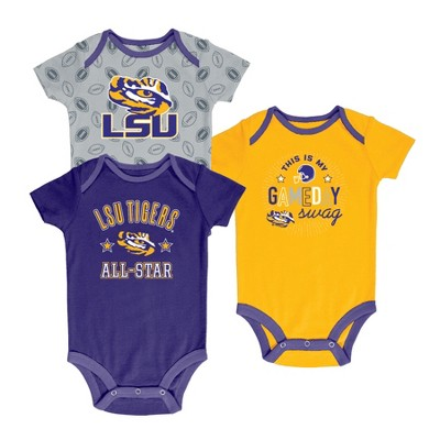LSU Tigers Baby Boy Short Sleeve 3pk Bodysuit